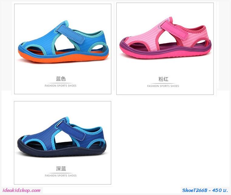 รองเท้าผ้าใบรัดส้นสไตล์ Sport สีชมพู