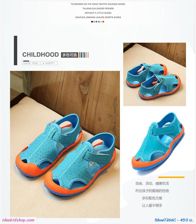 รองเท้าผ้าใบรัดส้นสไตล์ Sport สีฟ้า