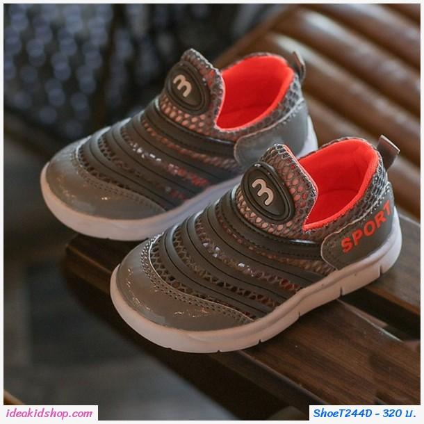 รองเท้าผ้าใบแบบสวมแถบคาด Sport ตาข่าย สีเทา