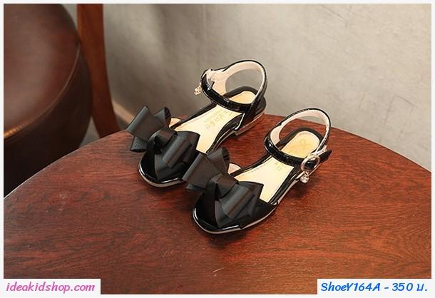 รองเท้ารัดส้นแฟชั่นเกาหลี ติดโบว์สุดเก๋ สีดำ