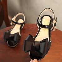 รองเท้ารัดส้นแฟชั่นเกาหลี-ติดโบว์สุดเก๋-สีดำ