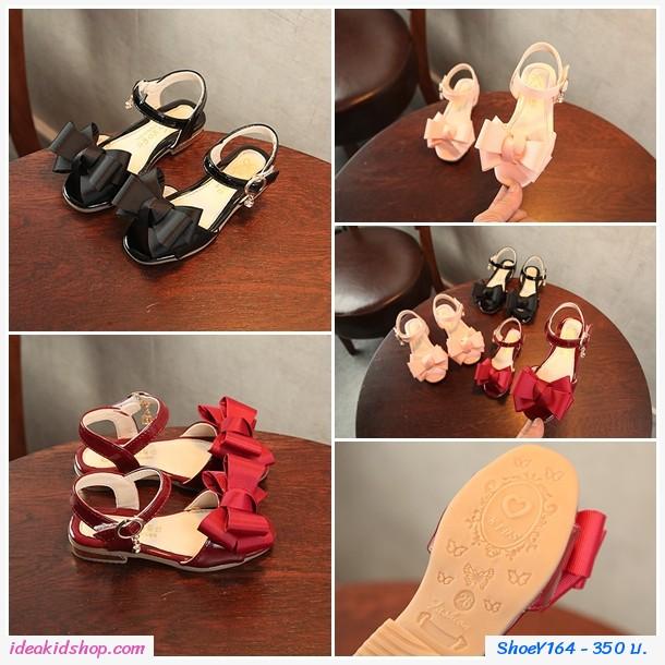 รองเท้ารัดส้นแฟชั่นเกาหลี ติดโบว์สุดเก๋ สีแดง