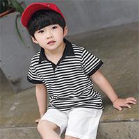เสื้อยืดคอปกแฟชั่นลายทาง-Black-Stripe-สีดำ