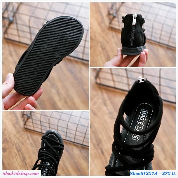 รองเท้าหุ้มข้อสไตล์โบฮีเมียนซิปหลัง สีดำ