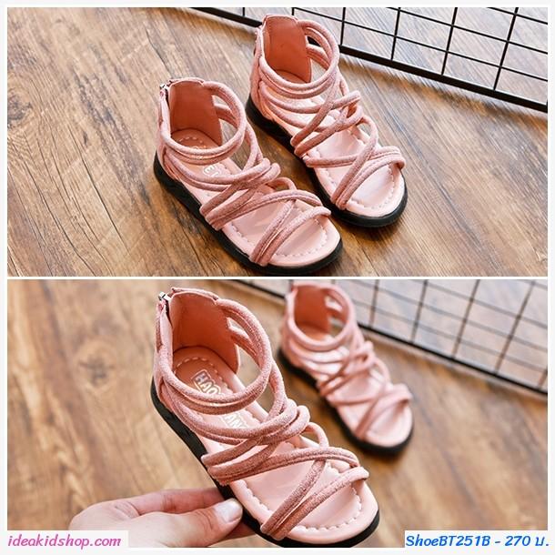 รองเท้าหุ้มข้อสไตล์โบฮีเมียนซิปหลัง สีชมพู