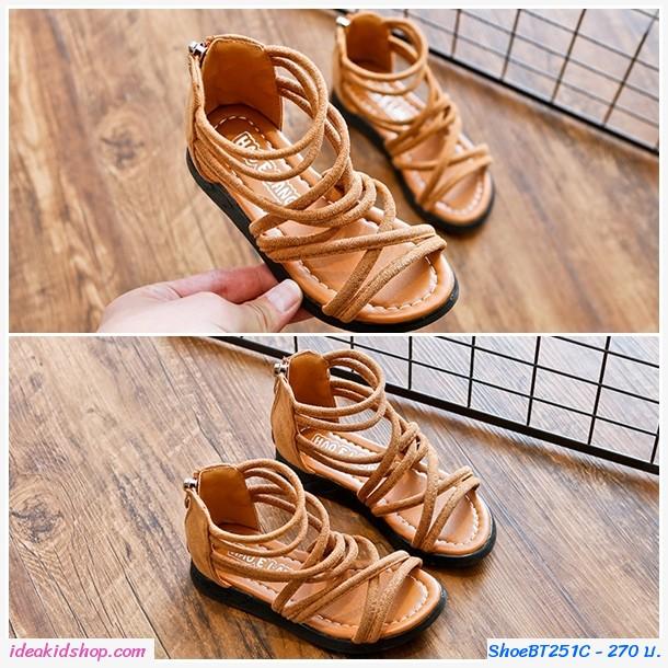 รองเท้าหุ้มข้อสไตล์โบฮีเมียนซิปหลัง สีน้ำตาล