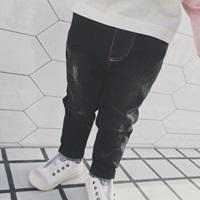 กางเกงยีนส์กรีดรอยขาด-ขายาว-สีดำ