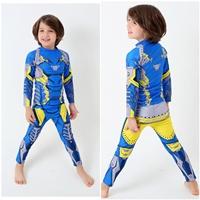 ชุดเสื้อกางเกงว่ายน้ำแขนยาว-ลายไอรอนแมน-สีน้ำเงิน