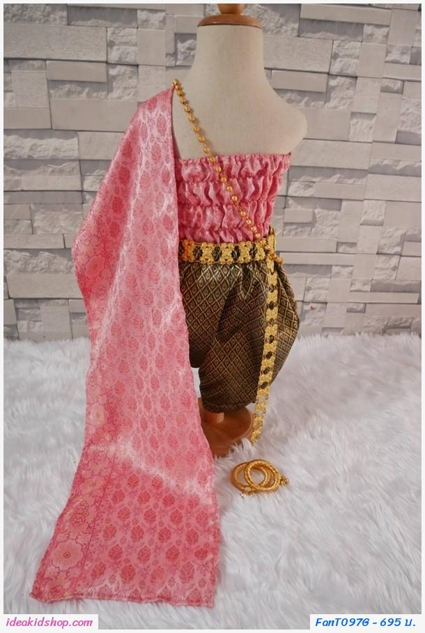 ชุดไทยการะเกดโจง สไบผ้าไหมอินเดีย สีชมพู