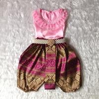 ชุดไทยเด็กหญิง-คอกลมลูกไม้-สีชมพู