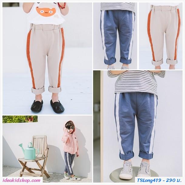 กางเกงขายาว casual pants แถบข้าง สีเทาเข้ม