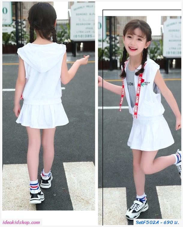 เสื้อกระโปรงกางเกง Sport Follow Me สีขาว(ได้3ชิ้น)