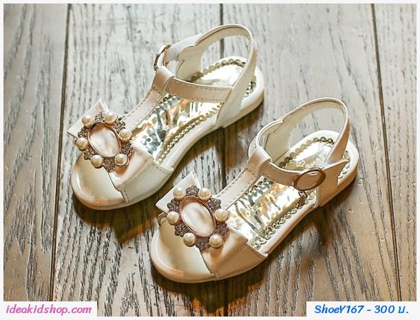 รองเท้ารัดส้นแต่งมุกติดโบว์ เจ้าหญิงน้อย สีขาว