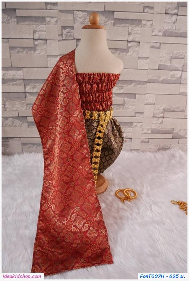 ชุดไทยการะเกดโจง สไบผ้าไหมอินเดีย สีแดง