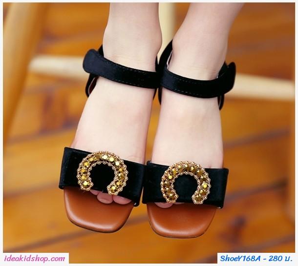 รองเท้ารัดส้นติดโบว์ตัว C สีดำ