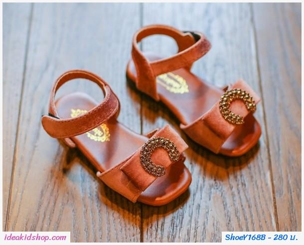 รองเท้ารัดส้นติดโบว์ตัว C สีน้ำตาล