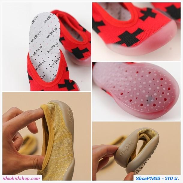 รองเท้าถุงเท้าแบบสั้นลายตัว X สีแดงดำ