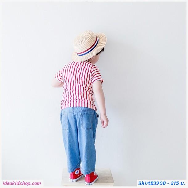 เสื้อยืดแฟชั่นหนูน้อยคีโต้ ลายขวาง สีขาวแดง