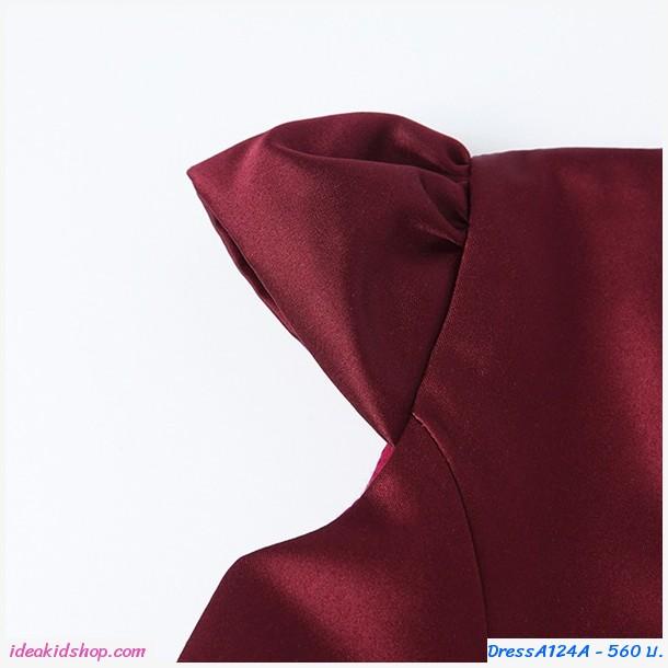 ชุดเดรสออกงานสุดหรูคอวีพร้อมเข็มขัด โทนสีม่วงอมแดง