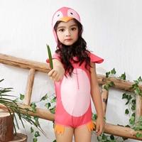 ชุดว่ายน้ำวันพีช-มีฮู้ด-เพนกวินน้อย-สีชมพู