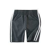 กางเกงวอร์มขาสั้น-แถบข้างสองเส้น-สีเทาเข้ม