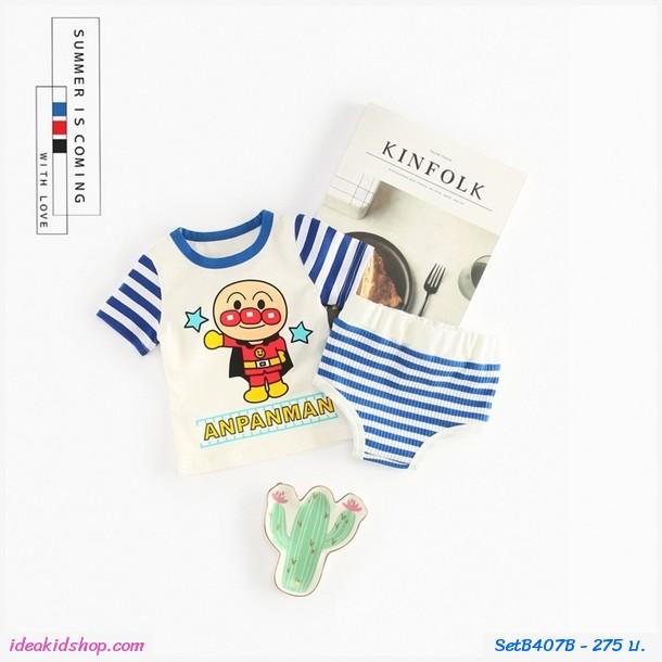 เสื้อกางเกง Stripe Shirt + Short Anpanman น้ำเงิน