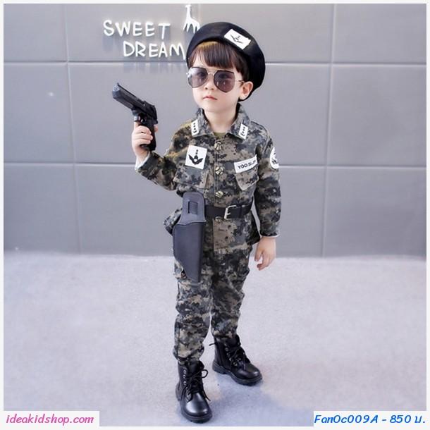 ชุดทหารเกาหลี YOO SI JIN สีเขียวขี้ม้า(เซต 7 ชิ้น)