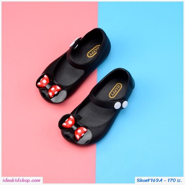 รองเท้ารัดส้นติดโบว์ลายจุด Mini สีดำ