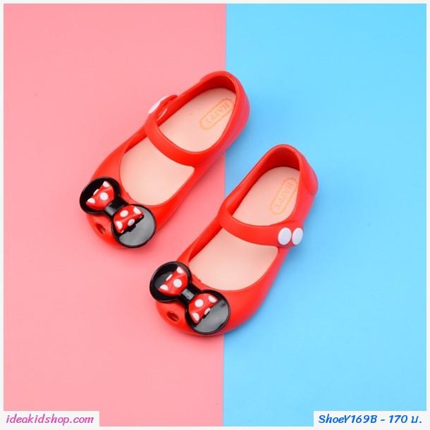 รองเท้ารัดส้นติดโบว์ลายจุด Mini สีแดง