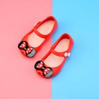 รองเท้ารัดส้นติดโบว์ลายจุด-Mini-สีแดง