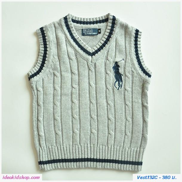 เสื้อสเวตเตอร์ Polo By Ralph Lauren คอวี สีเทา