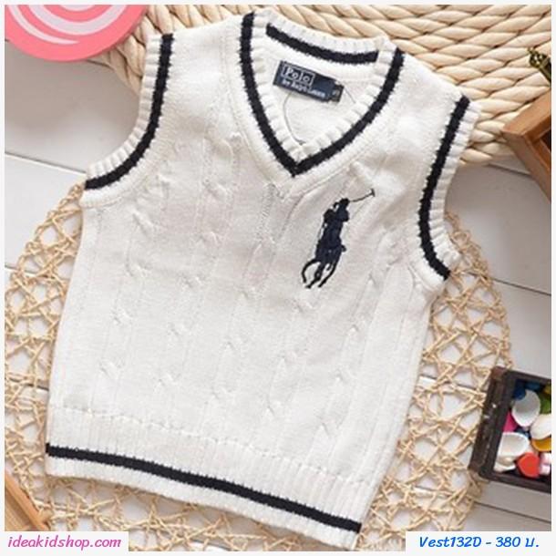 เสื้อสเวตเตอร์ Polo By Ralph Lauren คอวี สีขาว