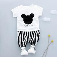 ชุดเสื้อกางเกงลายทาง-Mickey-Mouse-Who-R-U-สีขาวดำ