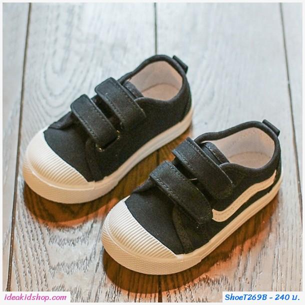 รองเท้าผ้าใบแต่งแถบคาดแฟชั่น สีดำ