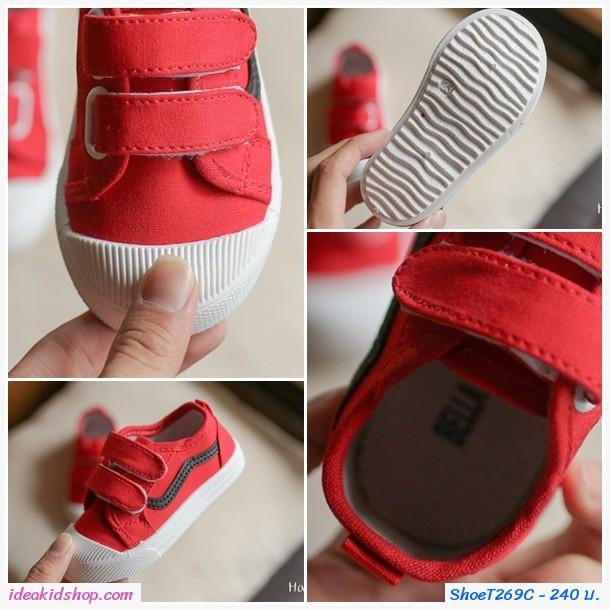 รองเท้าผ้าใบแต่งแถบคาดแฟชั่น สีแดง