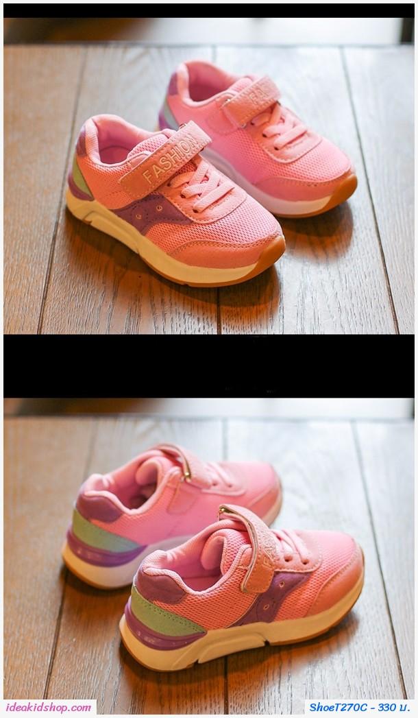 รองเท้าผ้าใบสปอร์ต Fashion สีชมพู