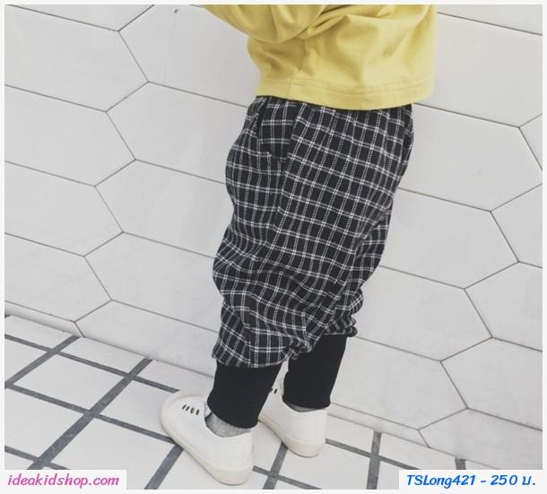กางเกงวอร์มขายาว แถบข้างเส้นใหญ่ สีดำ