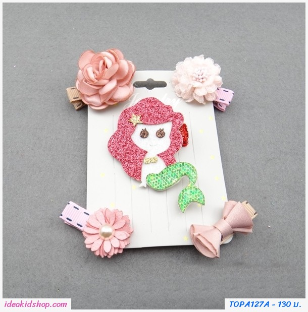 กิ๊บติดผมคุณหนู Mermaid สีแดง(ได้ 5 ชิ้น)