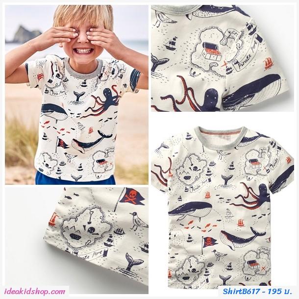 เสื้อยืดเด็กแฟชั่น ลายวาฬและนก สีขาว