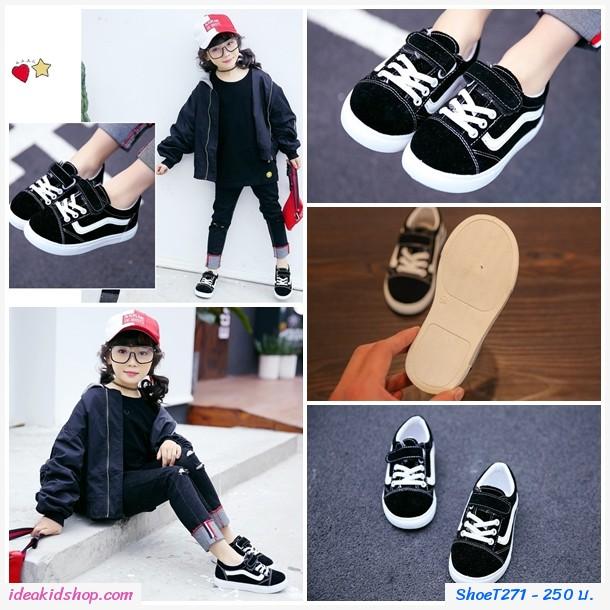 รองเท้าผ้าใบหุ้มส้นแฟชั่นสไตล์ Vans Old Skool สีดำ