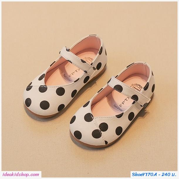 รองเท้ารัดส้นหนูน้อย Polka dot สีขาว