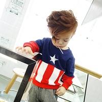 เสื้อกันหนาวแฟชั่นยอดมนุษย์-Captain-America-สีกรม