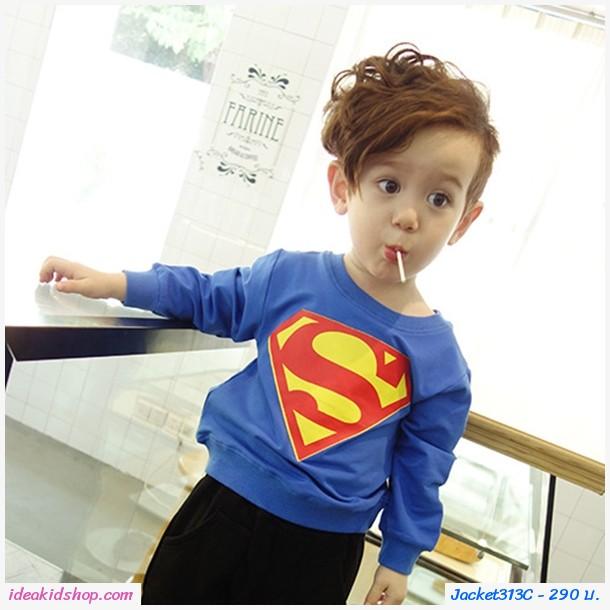 เสื้อกันหนาวแฟชั่นยอดมนุษย์ Superman สีน้ำเงิน