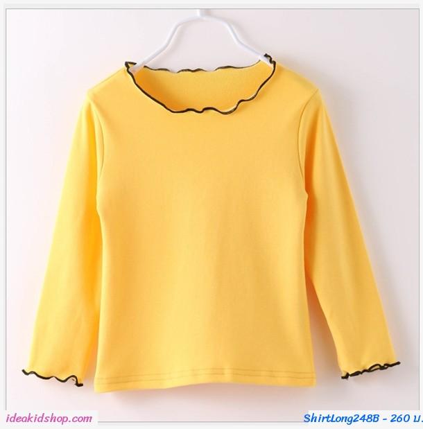 เสื้อแขนยาวแฟชั่นน่ารัก ลายเเมวเหมียว สีเหลือง