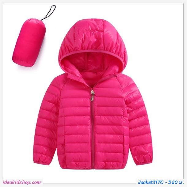 เสื้อคลุมแขนยาวมีฮู้ด สไตล์ยูนิโคล่ สีชมพู