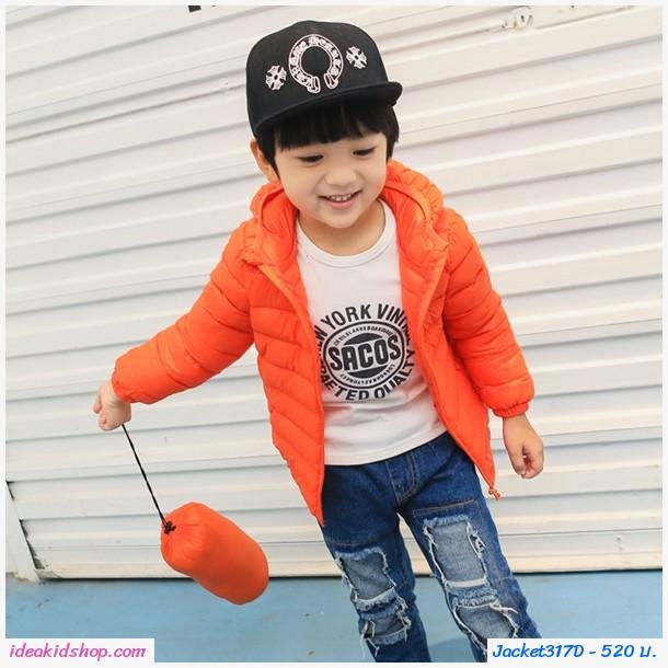 เสื้อคลุมแขนยาวมีฮู้ด สไตล์ยูนิโคล่ สีส้ม