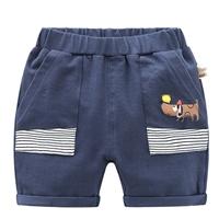 กางเกงขาสั้นสกรีนลายน้อยหมา-สีกรม