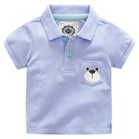 เสื้อคอปกลายน้องหมีน่ารัก-สีฟ้า