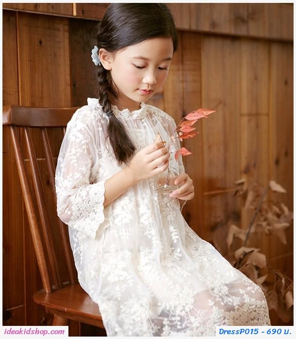 ชุดเดรสซีทรูปักฉลุลายดอกไม้สไตล์คุณหนู สีขาว (ได้2