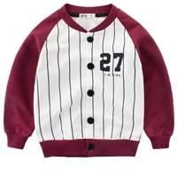 เสื้อคลุมแขนยาวเด็กสไตล์นักเบสบอล-27-ลายทาง-สีแดง